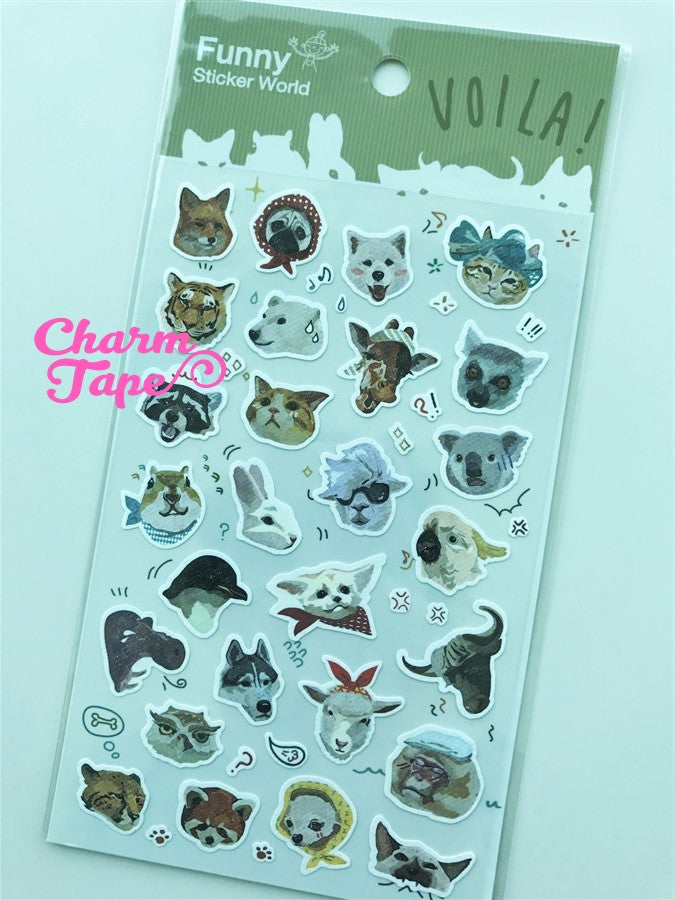 Zoo animals sticker art stickers by Funny 1 Sheets SS561