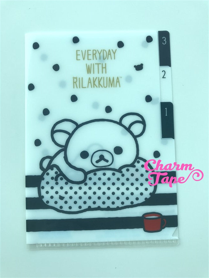 San-x Rilakkuma bear 3 Pocket small plastic file folder