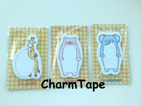 Zoo Animal Sticky Post It Memo Note 30 sheets - CharmTape - 1