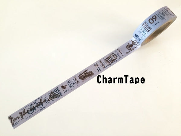 Vintage cars illustration Washi Tape Full Roll 15mm x 10 meters WT273 FREE SHIPPING - CharmTape - 2