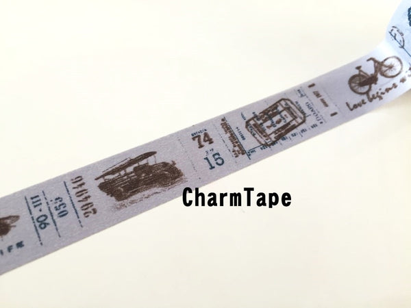 Vintage cars illustration Washi Tape Full Roll 15mm x 10 meters WT273 FREE SHIPPING - CharmTape - 4