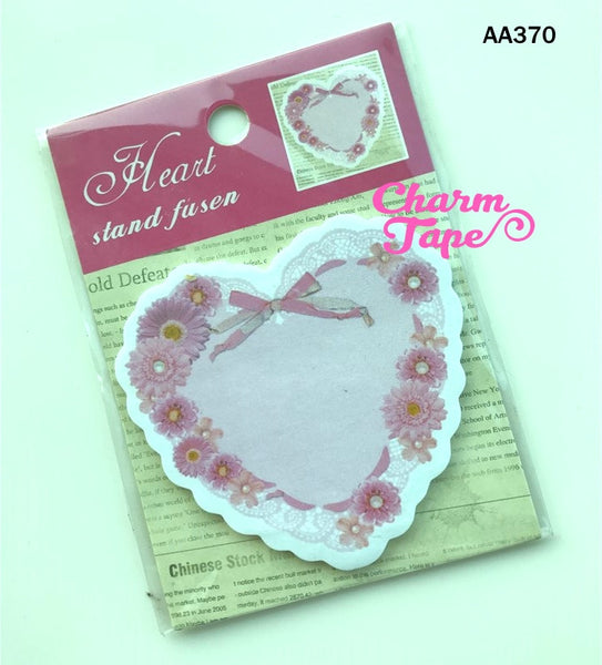 Pink Heart with floral Sticky Post-It Memo Note Pad 20 sheets
