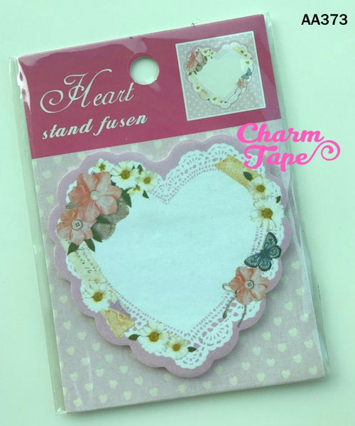Floral & butterfly Heart Sticky Post It Memo Note Pad 20 sheets SS373