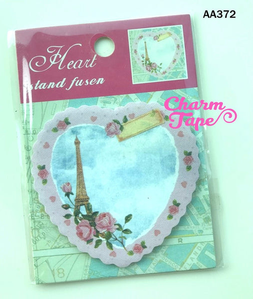 Eiffel Tower & heart Sticky Post It Memo Note Pad 20 sheets SS372