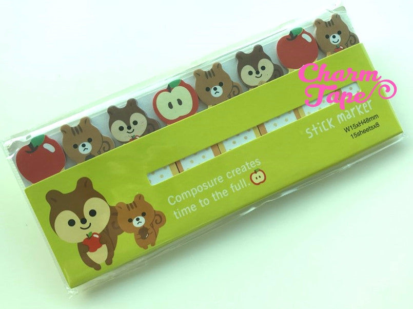 Squirrels & apple Sticky Post-It Memo Note Pad 120 sheets aa482-g