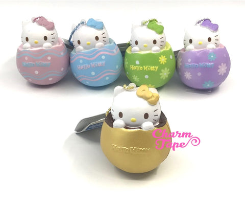 Hello Kitty Chocolate Egg Squishy cellphone charm by Sanrio - Gold