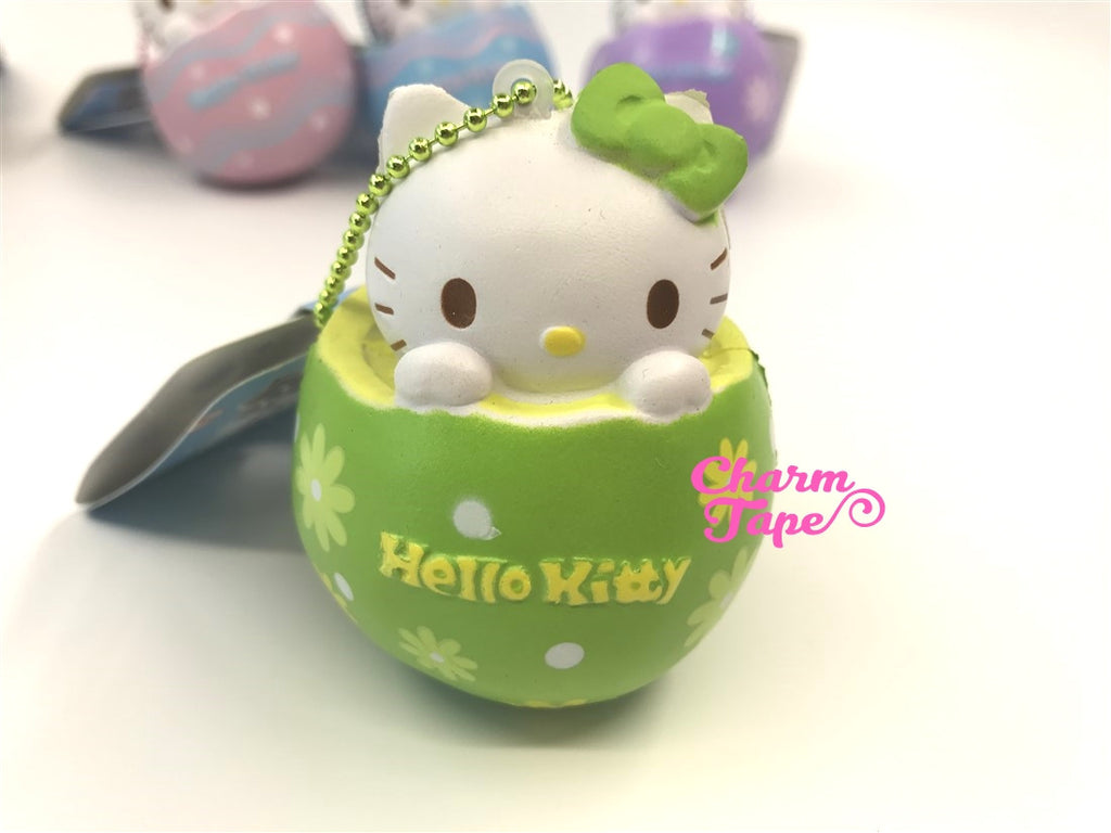 Hello Kitty Chocolate Egg Squishy cellphone charm by Sanrio - Green Flower