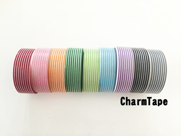 Stripes Washi Tape Roll 15mm x 10m WT1002 - CharmTape - 1