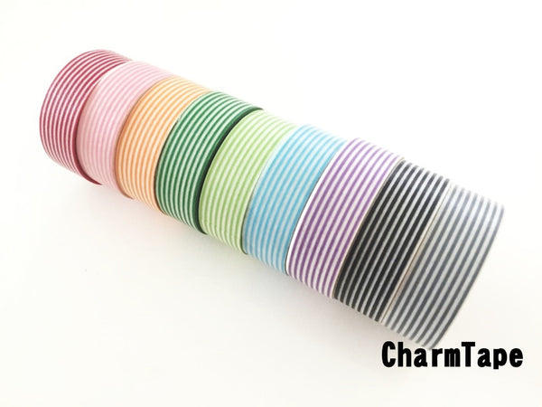 Stripes Washi Tape Roll 15mm x 10m WT1002 - CharmTape - 2