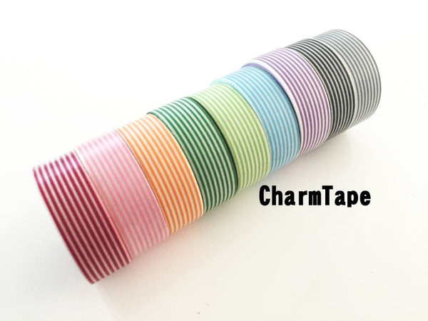 Stripes Washi Tape Roll 15mm x 10m WT1002 - CharmTape - 4
