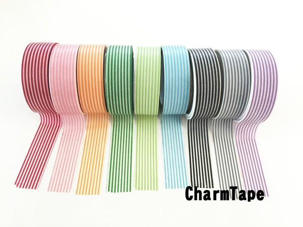 Stripes Washi Tape Roll 15mm x 10m WT1002 - CharmTape - 5
