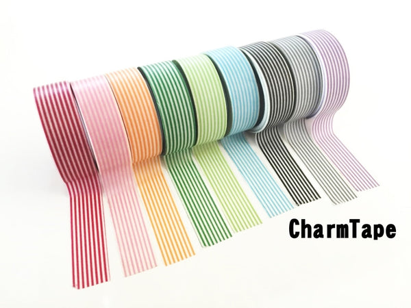 Stripes Washi Tape Roll 15mm x 10m WT1002 - CharmTape - 6