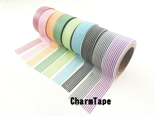 Stripes Washi Tape Roll 15mm x 10m WT1002 - CharmTape - 7
