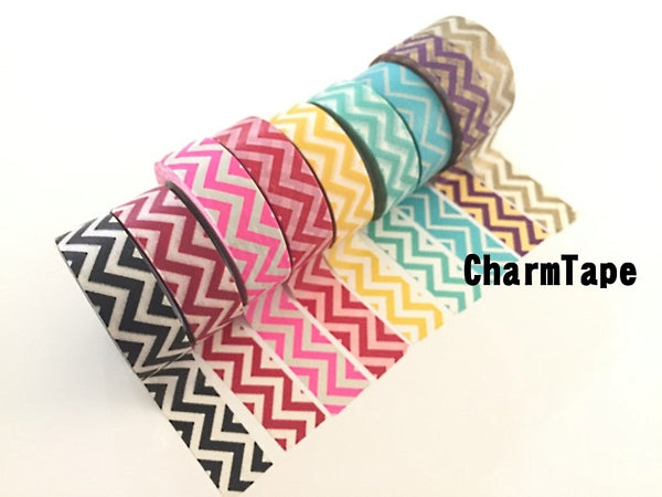 Zigzag Chevron Washi Tape Full Roll 15mm x 10m WT1005 - CharmTape - 7
