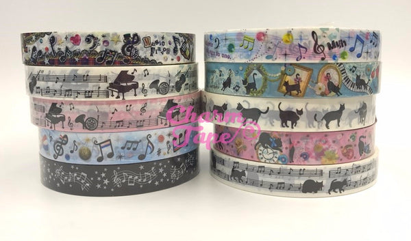 Black Cat & Music Plastic Deco Tape PT1 25 meters