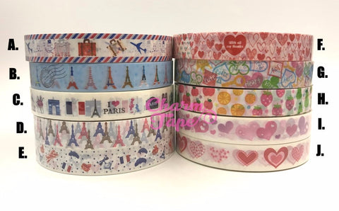 Shabby chic Eiffel Tower & Heart Plastic Deco Tape 25 meters PT2