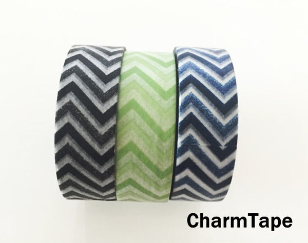 Black Green Blue Chevron Washi Tape 15mm x 11yards WT176 - CharmTape - 2