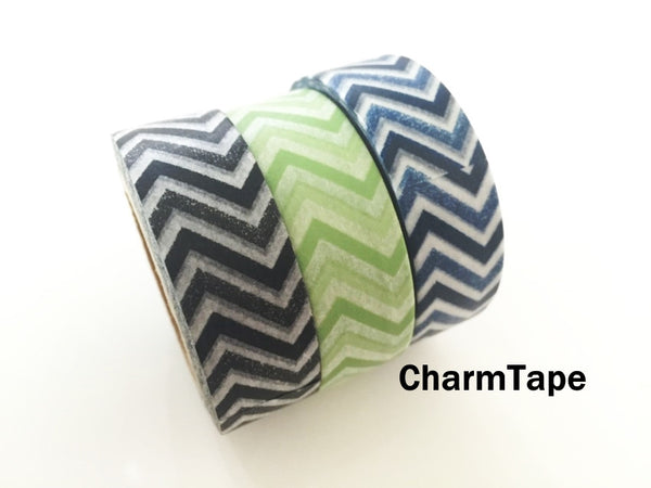 Black Green Blue Chevron Washi Tape 15mm x 11yards WT176 - CharmTape - 3