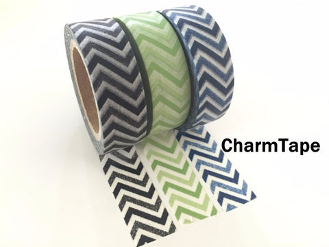 Black Green Blue Chevron Washi Tape 15mm x 11yards WT176 - CharmTape - 1
