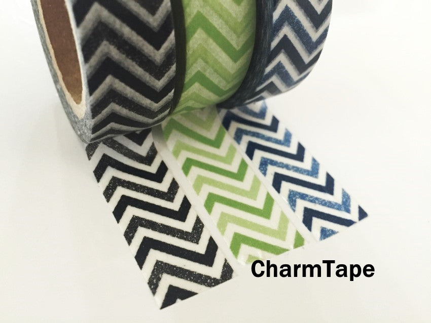Black Green Blue Chevron Washi Tape 15mm x 11yards WT176 - CharmTape - 4
