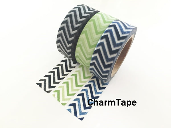 Black Green Blue Chevron Washi Tape 15mm x 11yards WT176 - CharmTape - 5
