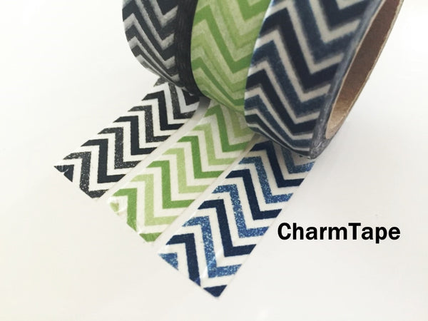 Black Green Blue Chevron Washi Tape 15mm x 11yards WT176 - CharmTape - 6