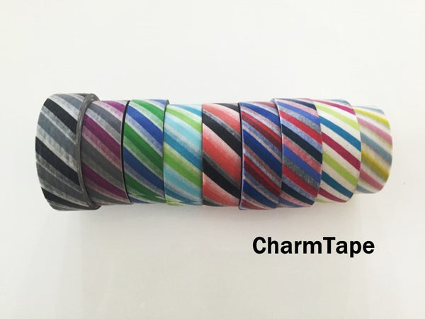 Airmail Postal Diagonal Stripes Washi Tape 15mm x 10 meters WT1009 - CharmTape - 2