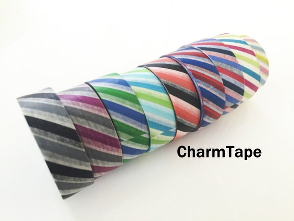 Airmail Postal Diagonal Stripes Washi Tape 15mm x 10 meters WT1009 - CharmTape - 3