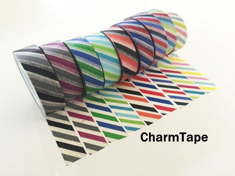 Airmail Postal Diagonal Stripes Washi Tape 15mm x 10 meters WT1009 - CharmTape - 1