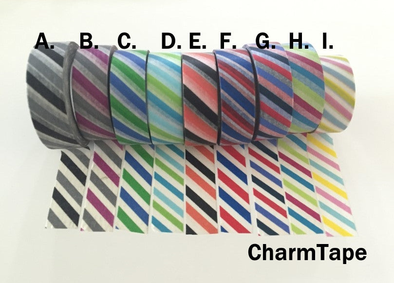 Airmail Postal Diagonal Stripes Washi Tape 15mm x 10 meters WT1009 - CharmTape - 4