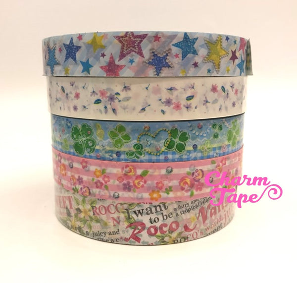 Shabby chic Floral Plastic Deco Tape PT4 25 meters