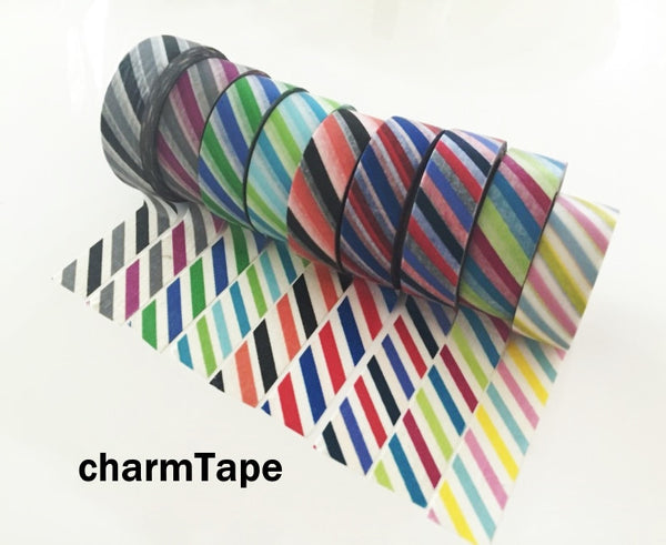 Airmail Postal Diagonal Stripes Washi Tape 15mm x 10 meters WT1009 - CharmTape - 6