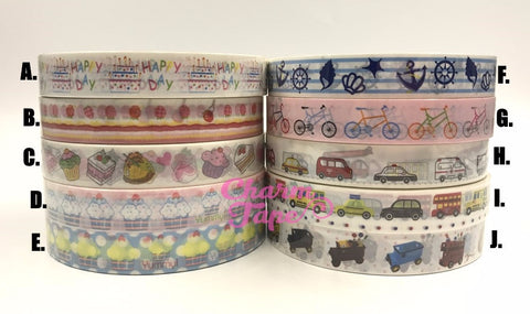 Birthday Cake or Cars Plastic Deco Tape PT5
