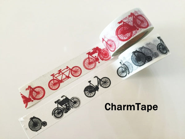 Black or Red Bicycle Washi Paper Tape 20mm x 5m WT1010 - CharmTape - 1