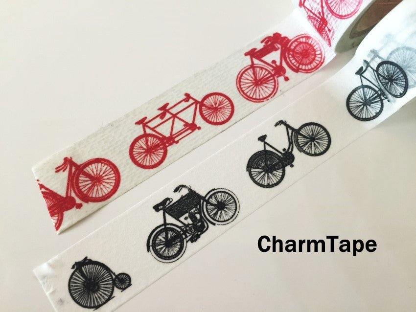 Black or Red Bicycle Washi Paper Tape 20mm x 5m WT1010 - CharmTape - 2