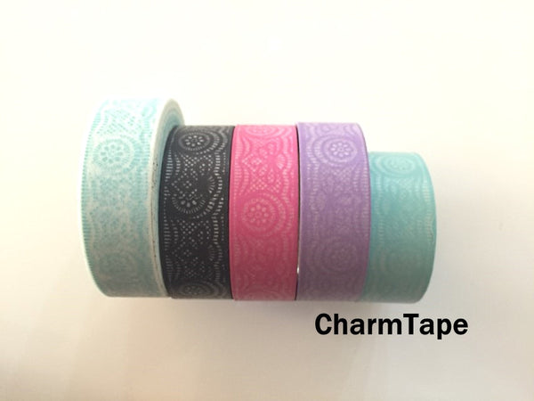 Lace Washi Tape Full Roll 15mm x 10 meters WT242 - CharmTape - 4