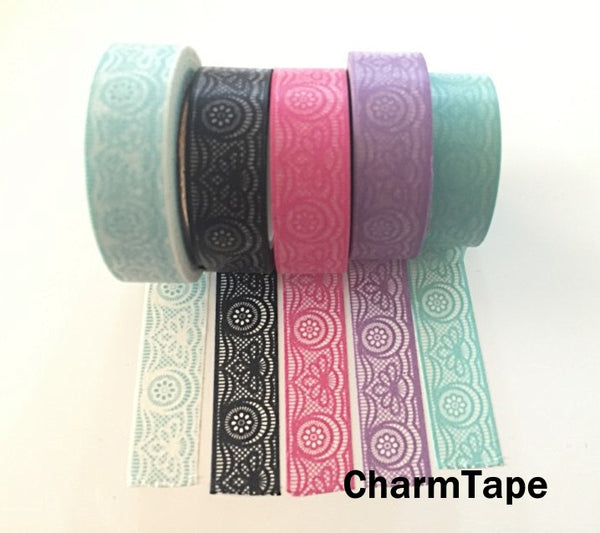 Lace Washi Tape Full Roll 15mm x 10 meters WT242 - CharmTape - 5