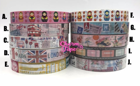 London, Russian Dolls, Eiffel Tower Plastic Deco Tape 10 meters PT8
