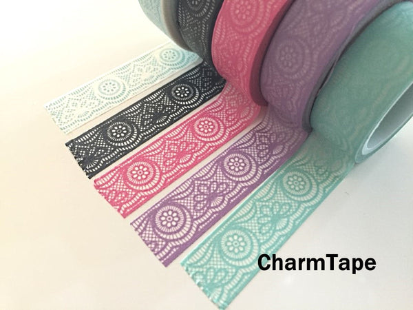 Lace Washi Tape Full Roll 15mm x 10 meters WT242 - CharmTape - 1
