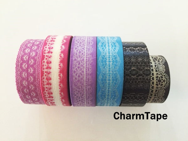 Washi Tape - delicate lace pattern 15mm WT1011 - CharmTape - 3