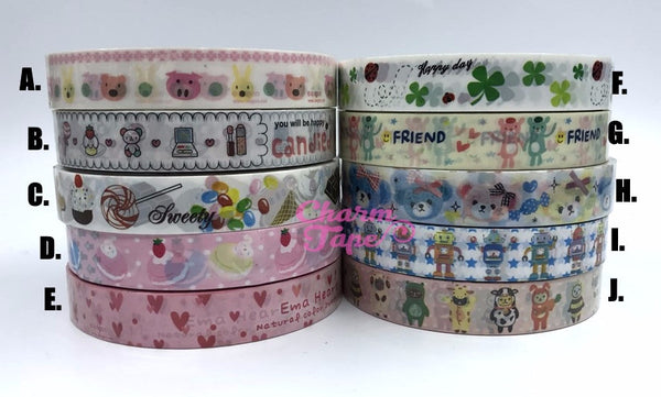 Candy, cake, Heart, Robert & Animal Plastic Deco Tape 10 meters PT9
