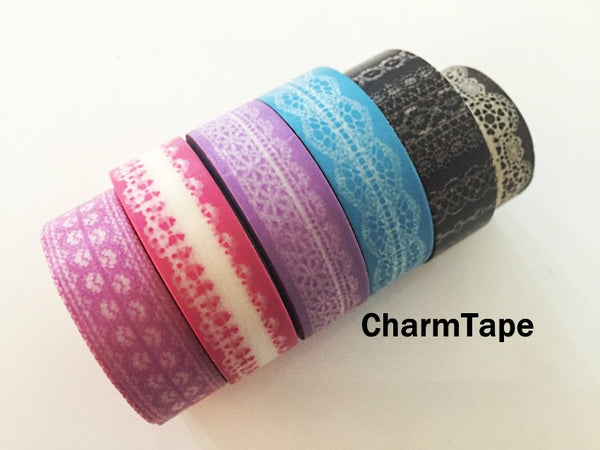 Washi Tape - delicate lace pattern 15mm WT1011 - CharmTape - 4