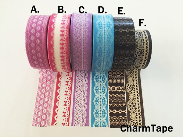 Washi Tape - delicate lace pattern 15mm WT1011 - CharmTape - 2