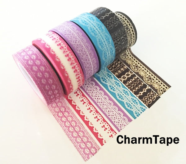Washi Tape - delicate lace pattern 15mm WT1011 - CharmTape - 5