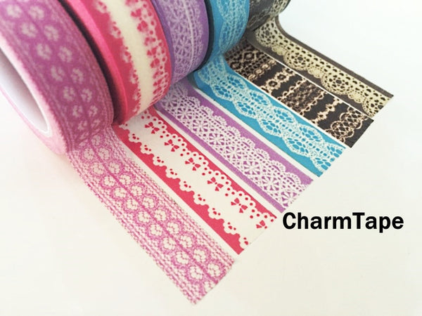 Washi Tape - delicate lace pattern 15mm WT1011 - CharmTape - 1