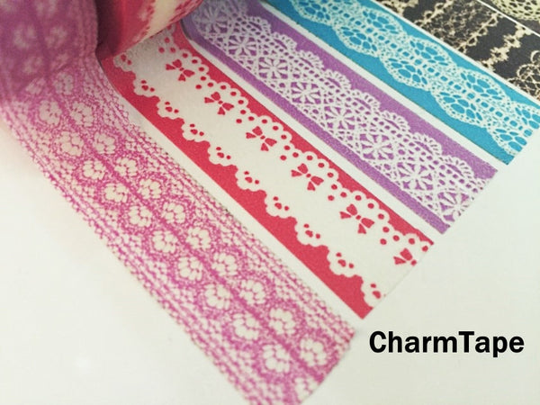 Washi Tape - delicate lace pattern 15mm WT1011 - CharmTape - 6