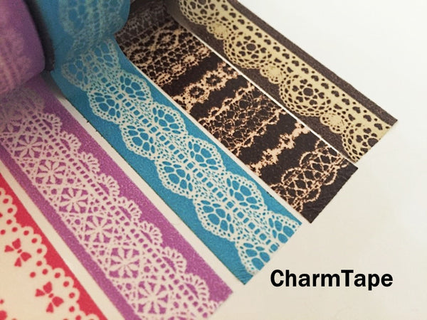 Washi Tape - delicate lace pattern 15mm WT1011 - CharmTape - 7