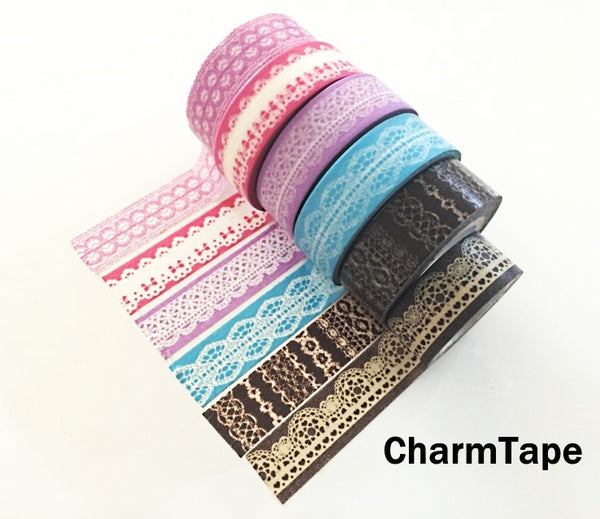 Washi Tape - delicate lace pattern 15mm WT1011 - CharmTape - 8