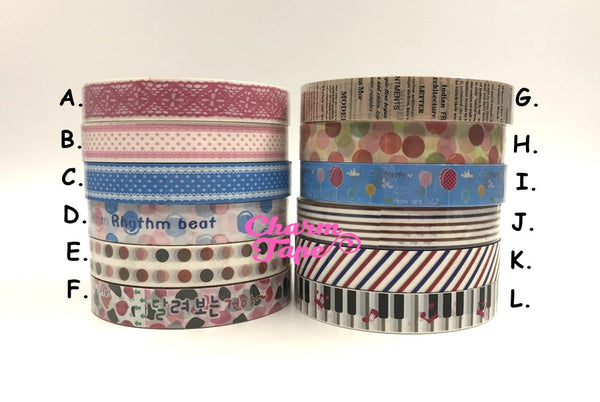 Stripes, lace & dots Plastic Deco Tape 10 meters PT10