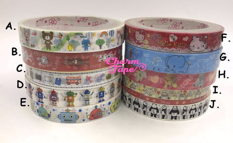 Plastic Deco Tape - Bear, Robot Toy, Panda Bear, Hello Kitty 10 meters PT11